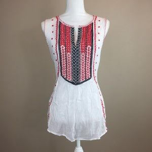Lucky Brand White Gauze Embroidered Sleeveless Top